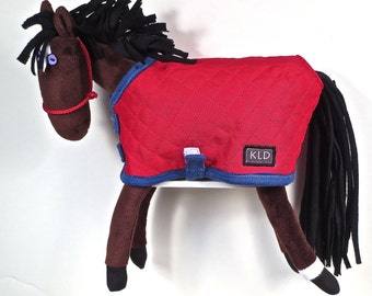Purple Eyed Pony/ Bay /Red Quilted Blanket
