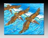 Wings Over Waves Flying Pelicans Ceramic Tile Wall Art