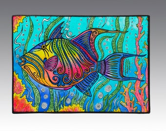 "Trigger Fish, Tropical Fish, 18"" x 24"" Door Mat, Floor Mat, Home Decor"