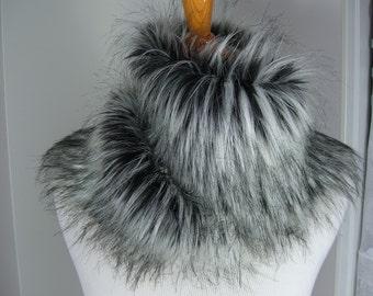 Faux Fur Scarf, Siberian Husky Faux Fur Scarf, Women's Long Fur Scarf