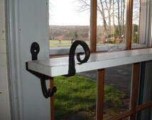 Shelf Bracket Black Iron hold curtain rod or shelf quilt wall hanging hook holds  a 1 1/4  dowel.  SOLD in pairs (2)