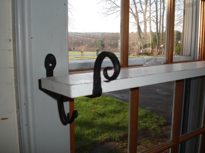 Shelf Brackets Black Iron Hold Curtain Rod Or Shelf Quilt