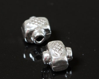 Sterling Silver Beads Bali Style with diamond design 7mm x 6mm