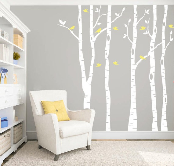 Birch tree wall decal for nursery and home by for Birch tree mural nursery