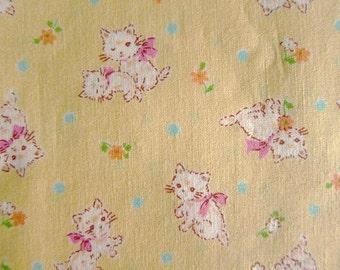 Japanese Fabric - Sweet Kittens on Baby Yellow - Half Yard - Kokka Fabric From Japan LIMITED YARDAGE