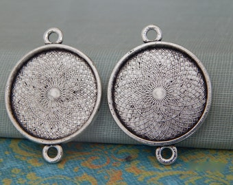25 Round 1 inch Link Connector Pendant Trays 25mm Antique Silver