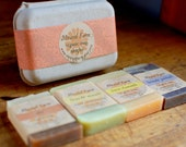 Organic soap sampler gift set. 4 guest soaps or gift soaps in recycled gift box. Natural and botanical.