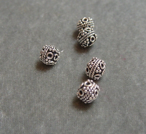 5 Sterling Silver Bali Beads 7mm Findings (561)
