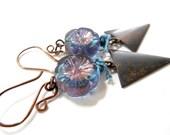 SALE Brass and Aqua Blue Flower Glass Triangle Dangle Earrings by Chelsea Girl Designs, Rustic Boho Jewelry