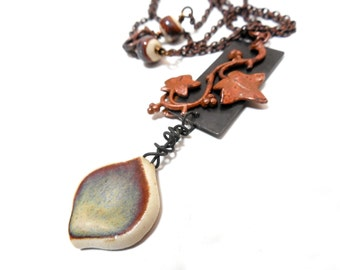 Ceramic and Copper Vine Necklace, Mixed Metals, Rustic Colors, Metalwork Necklace