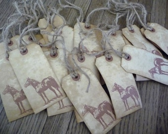 Horse Hang Tags, 20 Primitive Hang Tags,Coffee Stained,Large Hang Tags,Gift Tags,Twine String, Weddings, Handmade Tags, western Theme,Cowboy