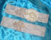 Bridal Garter Set, Rhinestone Bridal Garter Set, Wedding Garters, Ivory Lace Garter, Vintage Inspired Garter Set
