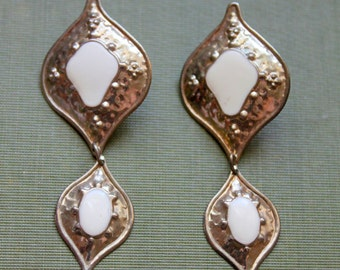 Vintage Earrings Gold White Enamel BOHO Pierced Dangle