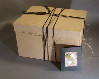 GIFT BOX OPTION - Gift Wrap Available for Select Items - All Natural Papier-Mache Box with Hemp or Red Twine and Small Gift Card