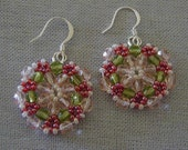 Flower Mandala Beadwoven Earrings