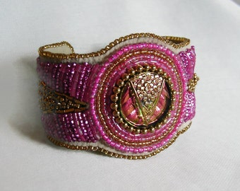 Brilliant Pink and Gold Bead Embroidery Cuff Bracelet