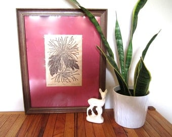 Vintage signed Spider Mum Woodblock print ~Floral art piece ~8/20 W.F Stone Jr. ~Christmas art ~ Cranberry red wall hanging