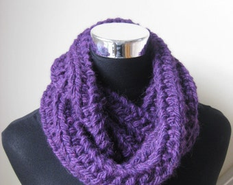 Damson Chunky Infinity Scarf / Cowl  Hand Knitted in  Alpaca / Wool FREE SHIPPING