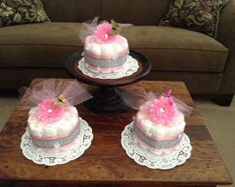 Elegant Pink butterfly Baby Shower Centerpieces Diaper cakes bundt cakes other sizes and colors too
