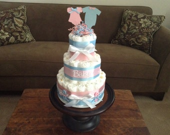 Gender Reveal Diaper Cake baby shower centerpiece other styles and sizes colors available