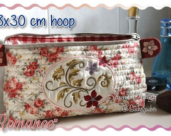 ROMANCE Make Up Bag with Zipper and Lining 18x30 cm ITH In The Hoop Machine Embroidery Design Smart D'sign