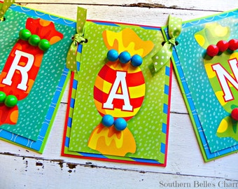 Candy Name Banner...Set of 1 Name Banner- up to 5 letters