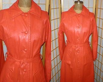 70s orange leather trench coat womens size medium / large
