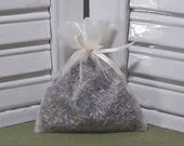 Ivory, lavender sachet, perfect for a favor, or a gift to say Thank you, organza bag with ribbons, filled with 100% dried lavender