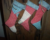 Three Primitive Antique Quilt Christmas Stocking Ornaments