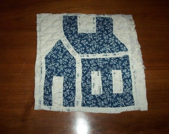 Antique Quilt Block,House Pattern,Indigo Blue,White