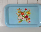 Vintage Metal Tray - Cottage Style Floral