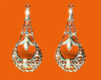 Vintage 4  RARE Unique Victorian Sterling Silver Plated Fancy Filigree Earring Drops 35x16MM N7R 2B