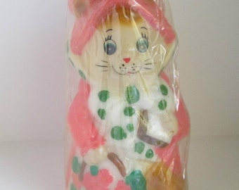 Vintage Figural Candle Cat in a Pink Bonnet 1981