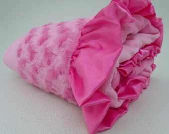 Hot Pink Minky Baby Blanket, Hot Pink Rose Swirl, Hot Pink Ruffle