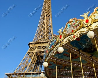 Brilliant Paris France Eiffel Tower & Carousel Fine Art Photography Photo Print