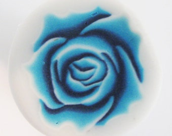 Fimo polymer clay blue rose cane by orly