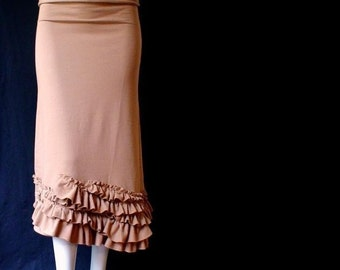 Ruffled hem long skirt , organic cotton skirt, maxi skirt, organic clothes, more colors