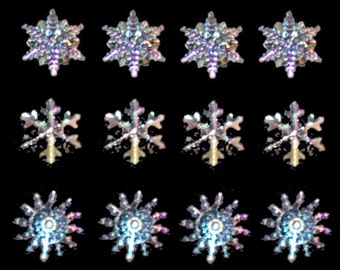 Crystal Snowflake Buttons, Jesse James Buttons Set of 12  Buttons