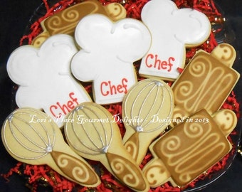Chef Cookies - Chef Hat Cookies - 12 Cookies