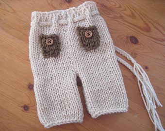 baby jeans with button pockets -  pants with tie - Newborn - photographers prop - hand knit - baby boy girl - other colors