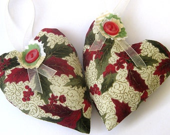 Christmas gift set, Christmas ornaments, stuffed hearts plus fabric gift bags, holly leaves, red and green holiday decor