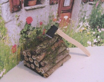 dollhouse woodpile, woodpile, rustic, wood, wood stack ,dollhouse miniature, garden,