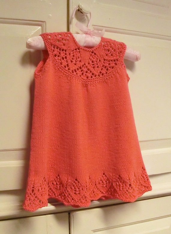 Knitting Patterns For Baby Dresses : Baby Dress Knitting Pattern with Lace Yoke Meredith Baby