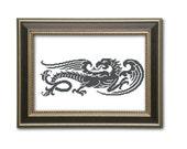 Dragon- cross stitch pattern/ filet crochet pattern. Instant download PDF.