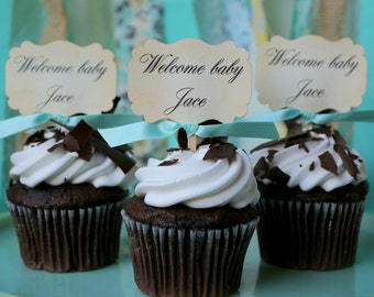 Baby Shower cupcake toppers, Personalized, Welcome Baby