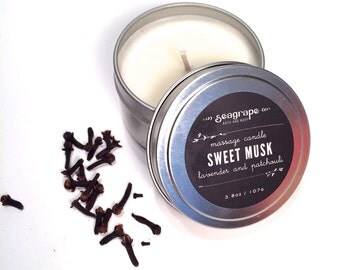 Sweet Musk... Soy Massage Candle ( Lavender, Clove and Patchouli ) 6oz
