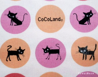 SALE / CoCoLand Fabric - Soap Bubbles Cats on Ivory x Pink - Half Yard - (ma130410)