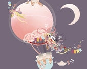 Girls Pink Cat and Kitten Bedroom Art - 'Kites and Kittens' by Schmooks