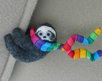 Sloth Car Visor cling on - plush stuffed animal with bendable legs and rainbow scarf - felt rain forest animal