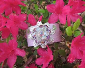 Leather Cuff- Purple Cuff- Butterfly Cuff- Purple Bracelet- pastel Bracelet-Butterfly Bracelet- Purple Leather Cuff